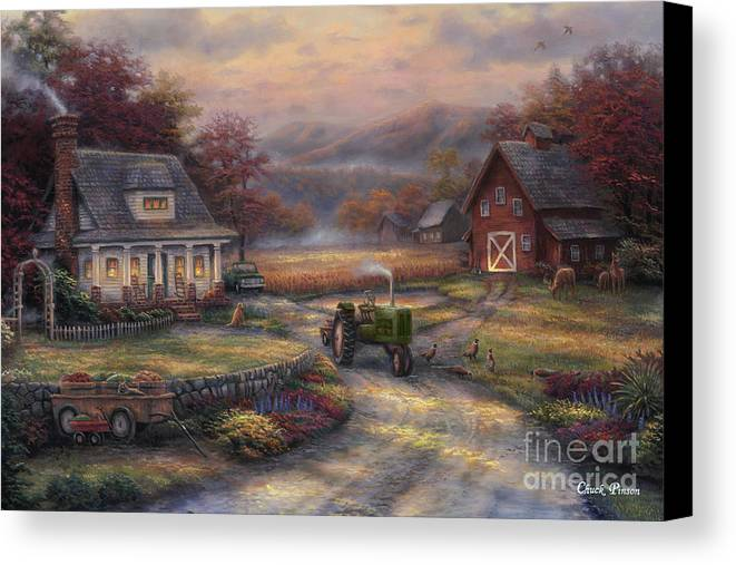 Tractor Canvas Print featuring the painting Afternoon Harvest by Chuck Pinson