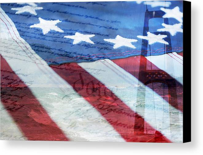 Flag Canvas Print featuring the digital art American Flag by Christina Rollo