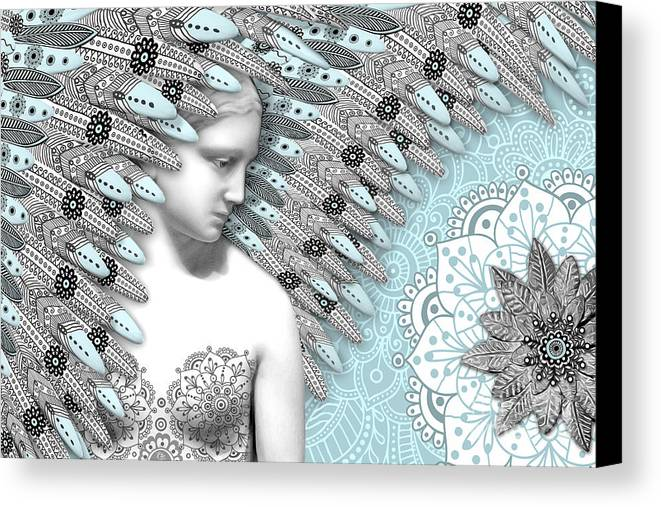 Angel Canvas Print featuring the digital art Angelica Hiberna - Angel Of Winter by Christopher Beikmann