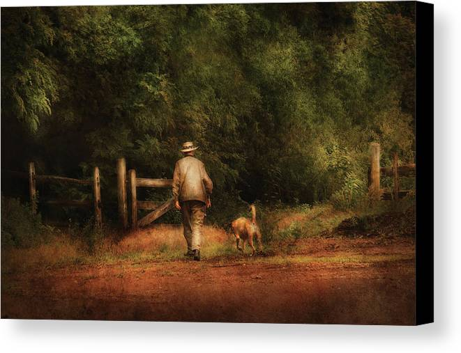 Savad Canvas Print featuring the photograph Animal - Dog - A Man And His Best Friend by Mike Savad