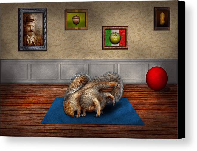 Squirrel Canvas Print featuring the photograph Animal - Squirrel - And Stretch Two Three Four by Mike Savad