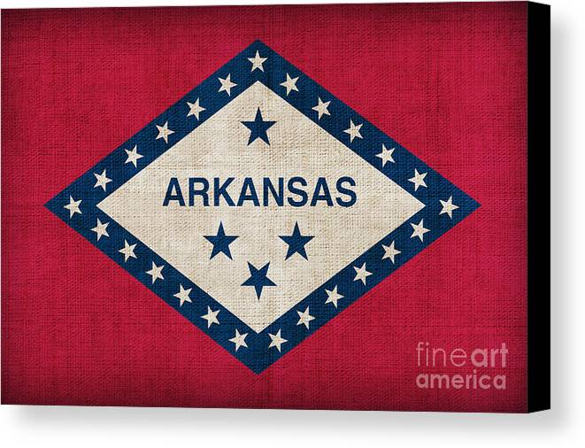 Arkansas Canvas Print featuring the painting Arkansas State Flag by Pixel Chimp