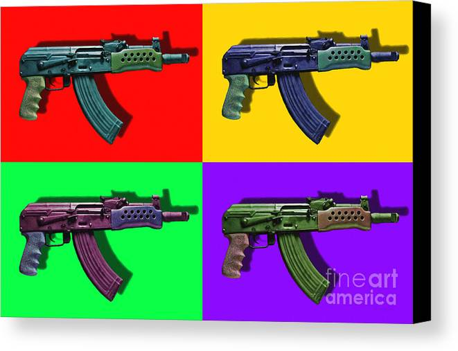 Gun Canvas Print featuring the photograph Assault Rifle Pop Art Four - 20130120 by Wingsdomain Art and Photography