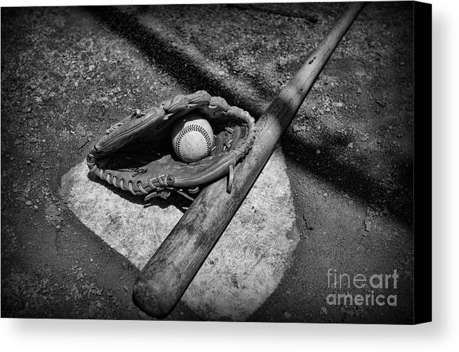 Paul Ward Canvas Print featuring the photograph Baseball Home Plate In Black And White by Paul Ward