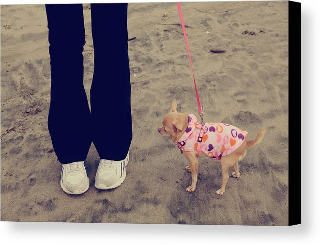 Aptos Canvas Print featuring the photograph Beach Walk by Laurie Search