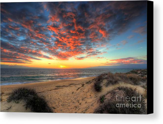 Manateevoyager Canvas Print featuring the photograph Beachcombers Sunset by English Landscapes