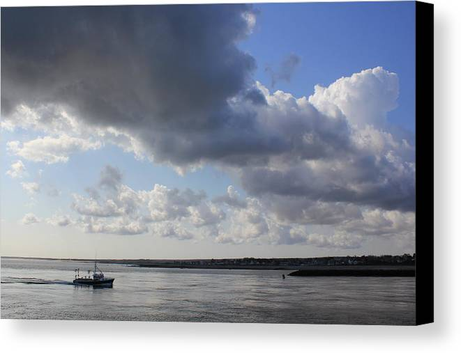 Cape Cod Canal Canvas Print featuring the photograph Beating The Storm by Amazing Jules
