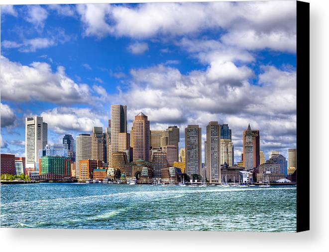 Boston Canvas Print featuring the photograph Beautiful Boston Skyline From The Harbor by Mark E Tisdale
