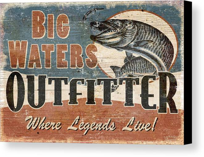 Jon Q Wright Canvas Print featuring the painting Big Waters Outfitters by JQ Licensing