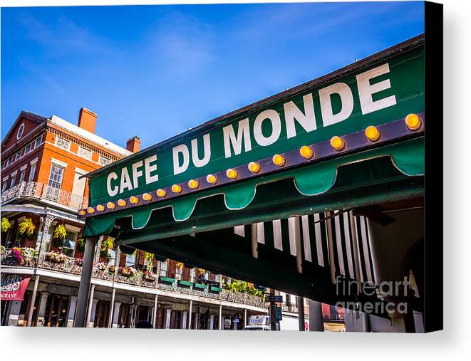 America Canvas Print featuring the photograph Cafe Du Monde Picture In New Orleans Louisiana by Paul Velgos
