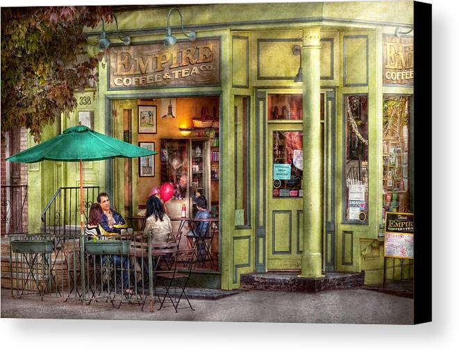 Hoboken Canvas Print featuring the photograph Cafe - Hoboken Nj - Empire Coffee And Tea by Mike Savad