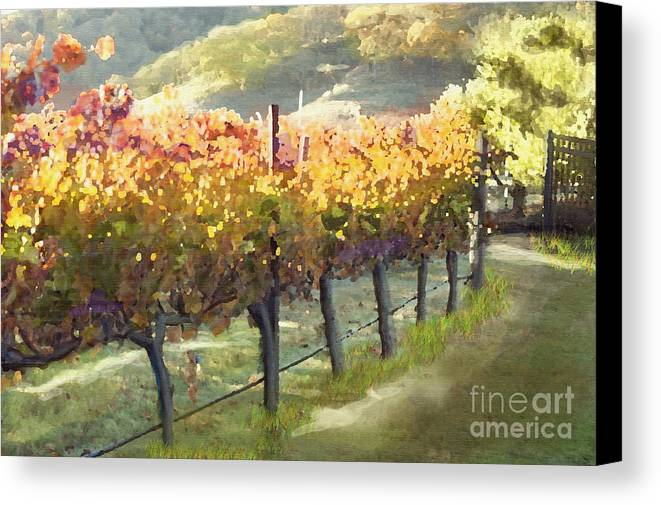Corde Valle San Martin Ca Canvas Print featuring the painting California Vineyard Series Morning In The Vineyard by Artist and Photographer Laura Wrede