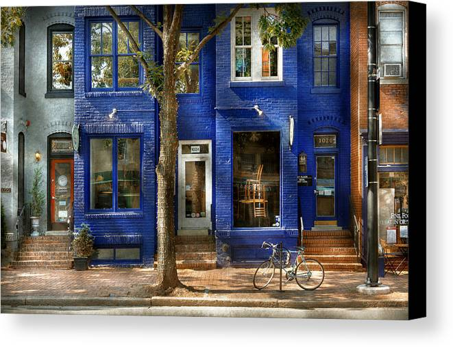 King Street Canvas Print featuring the photograph City - Alexandria Va - Bike - The Urbs by Mike Savad