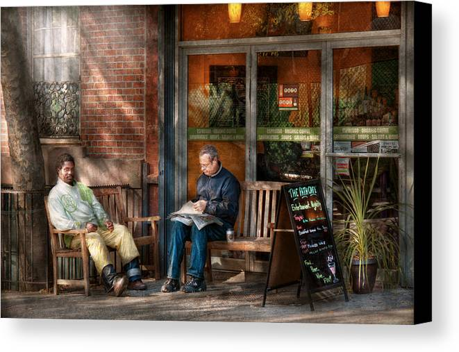 City Canvas Print featuring the photograph City - New York - Greenwich Village - The Path Cafe by Mike Savad