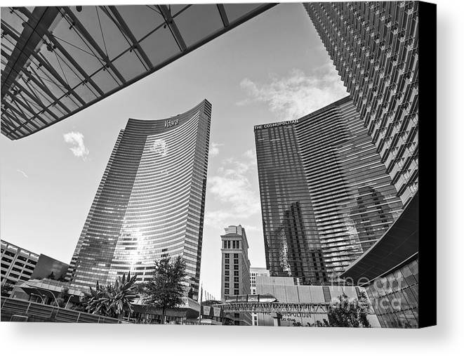 Vdara Hotel And Spa Canvas Print featuring the photograph Citycenter - View Of The Vdara Hotel And Spa Located In Citycenter In Las Vegas by Jamie Pham
