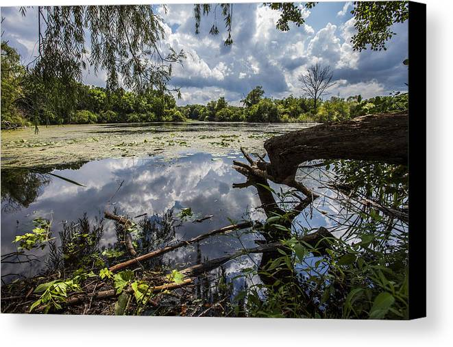 Www.cjschmit.com Canvas Print featuring the photograph Clouds On The Water by CJ Schmit