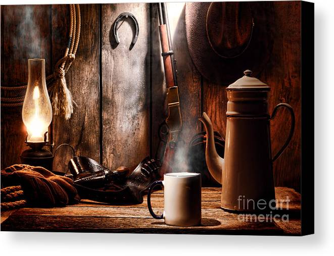 Coffee Canvas Print featuring the photograph Coffee At The Cabin by Olivier Le Queinec