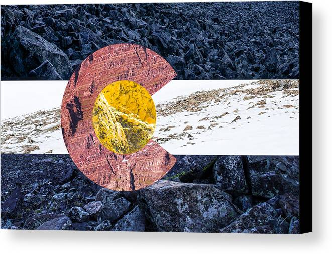 Colorado Canvas Print featuring the photograph Colorado State Flag With Mountain Textures by Aaron Spong