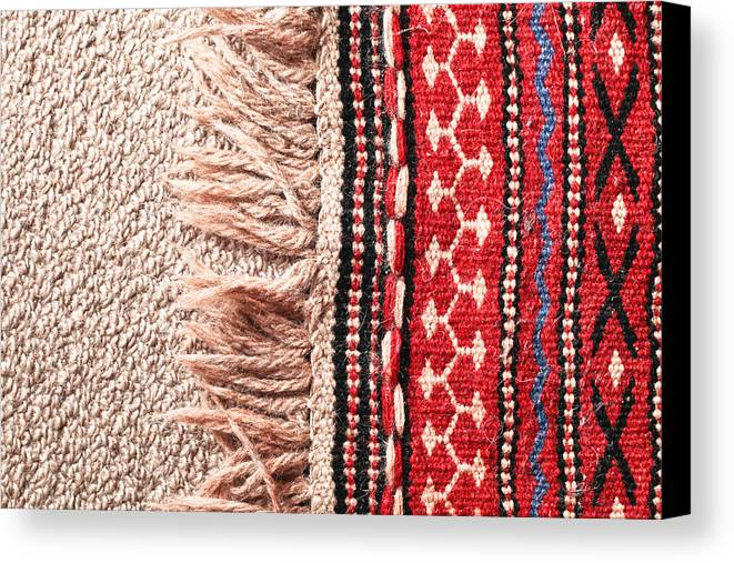 Abstract Canvas Print featuring the photograph Colorful Rug by Tom Gowanlock