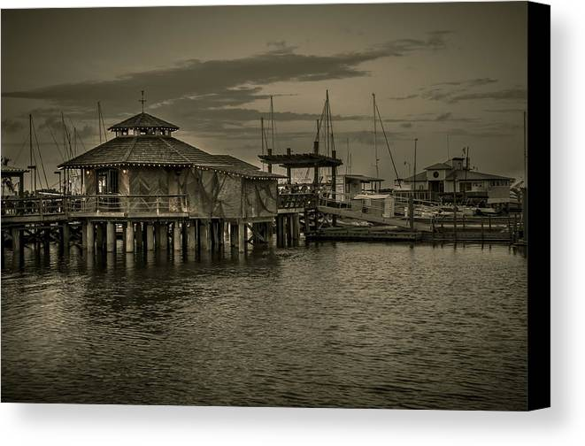 B&w Canvas Print featuring the photograph Conch House Marina by Mario Celzner