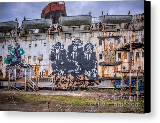 Abandoned Canvas Print featuring the photograph Council Of Monkeys by Adrian Evans
