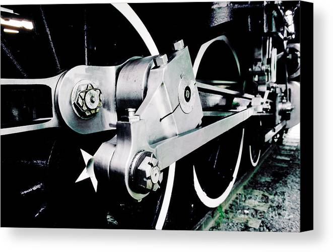 Coupling Rod Canvas Print featuring the photograph Coupling Rods And Driver Wheels For A Steam Locomotive by Wernher Krutein