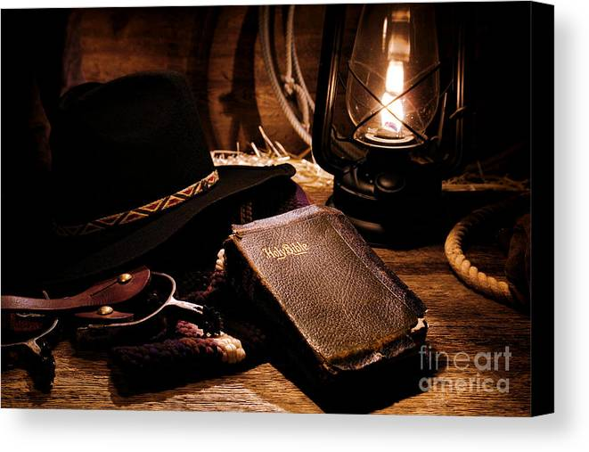 Western Canvas Print featuring the photograph Cowboy Bible by Olivier Le Queinec