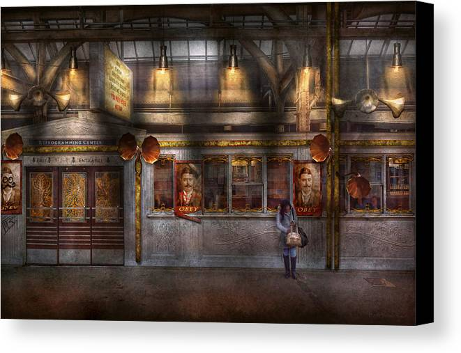 Steampunk Canvas Print featuring the photograph Creepy - Apocalyptic - Obedience And Compliance by Mike Savad