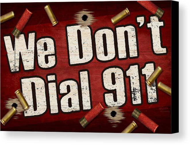 Sign Canvas Print featuring the painting Dial 911 by JQ Licensing