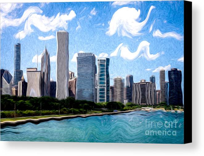 2012 Canvas Print featuring the photograph Digitial Painting Of Downtown Chicago Skyline by Paul Velgos