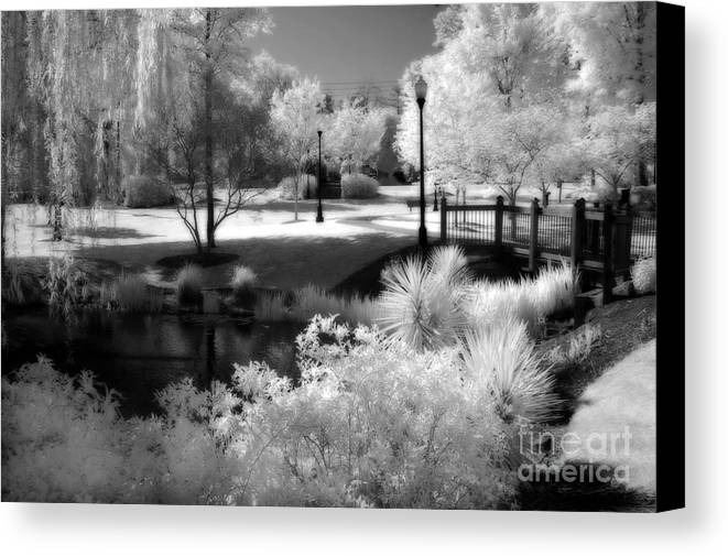 Infrared Art Prints Canvas Print featuring the photograph Dreamy Surreal Black White Infrared Landscape by Kathy Fornal