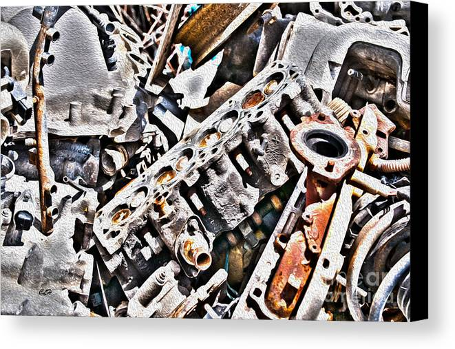 Vehicle Canvas Print featuring the photograph Engine For Parts - Automotive Recycling by Crystal Harman