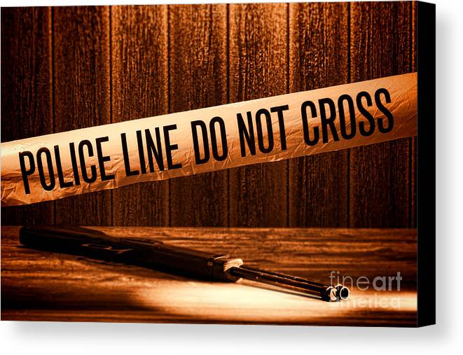 Police Line Canvas Print featuring the photograph Evidence by Olivier Le Queinec