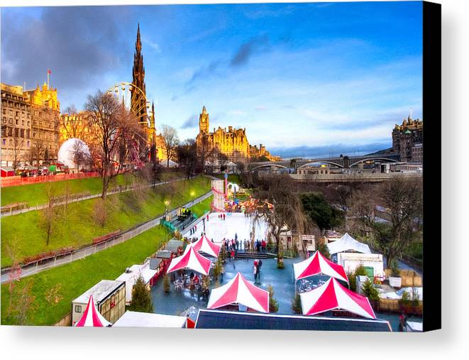 Princes Street Gardens Canvas Print featuring the photograph Festive Princes Street Gardens - Edinburgh by Mark E Tisdale