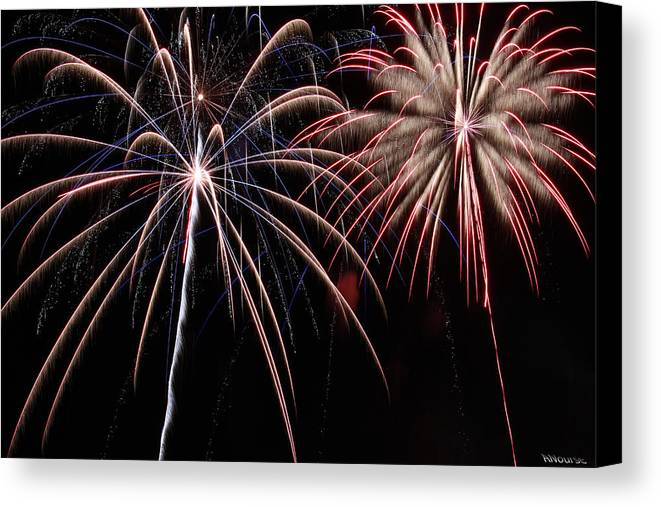 Fireworks Canvas Print featuring the photograph Fireworks 2 by Andrew Nourse