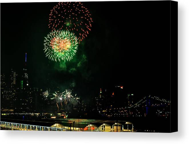 Fireworks Canvas Print featuring the photograph Fireworks Over Brooklyn Bridge And New York City by Diane Lent