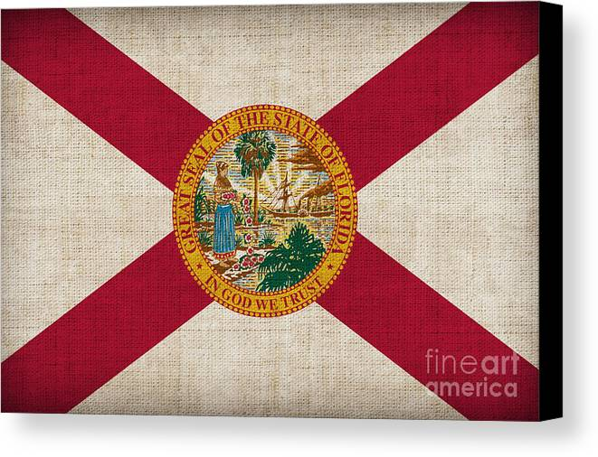 Florida Canvas Print featuring the painting Florida State Flag by Pixel Chimp
