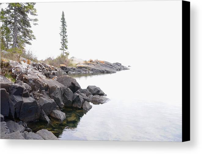Lake Superior Scene Canvas Print featuring the photograph Foggy Day On Lake Superior by Sandra Updyke