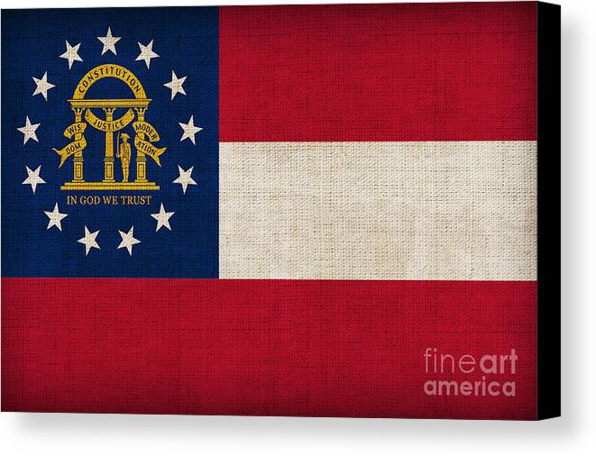 Georgia Canvas Print featuring the painting Georgia State Flag by Pixel Chimp