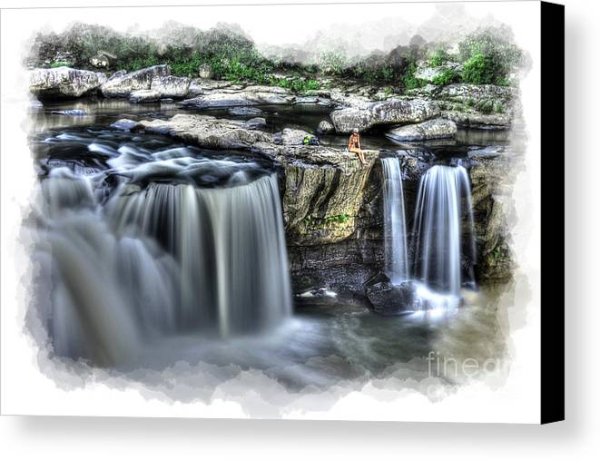 Girl Canvas Print featuring the photograph Girl On Rock At Falls by Dan Friend