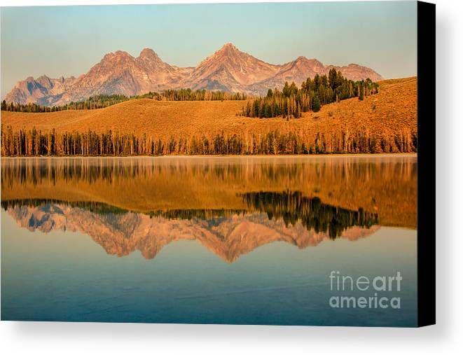 Rocky Mountains Canvas Print featuring the photograph Golden Mountains Reflection by Robert Bales