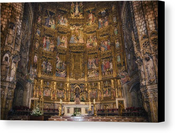 Toledo Canvas Print featuring the photograph Gothic Altar Screen by Joan Carroll