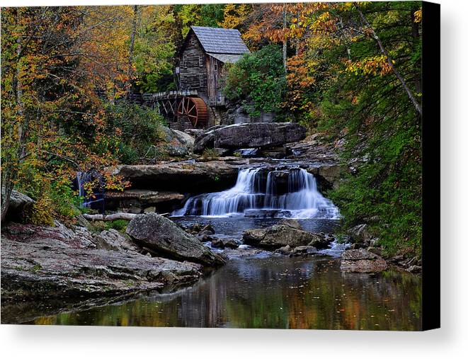 Trees Canvas Print featuring the photograph Grist Mill Falls by Lone Dakota Photography