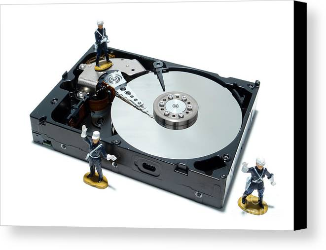 Computer Canvas Print featuring the photograph Hard Drive Security by Olivier Le Queinec