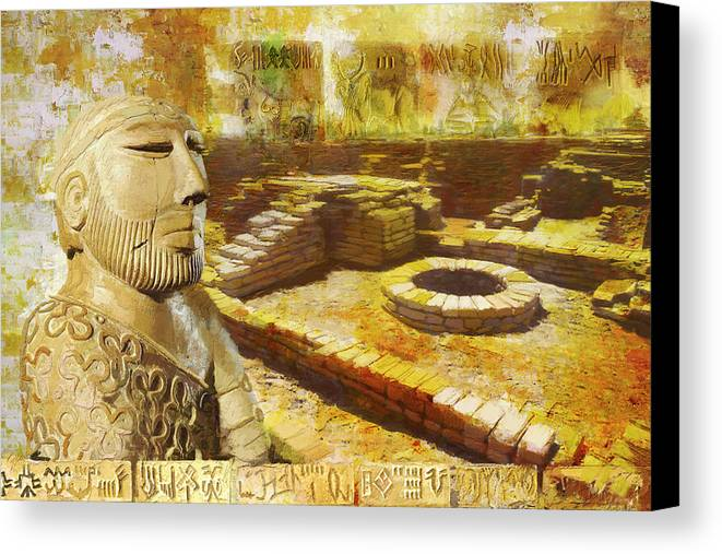 Pakistan Canvas Print featuring the painting Harrappa Unesco World Heritage Site by Catf