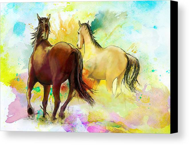 Horse Canvas Print featuring the painting Horse Paintings 009 by Catf