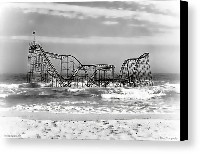 Hurricane Sandy Photographs Canvas Print featuring the photograph Hurricane Sandy Jetstar Roller Coaster Black And White by Jessica Cirz