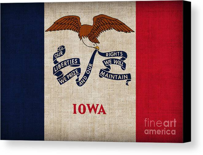 Iowa Canvas Print featuring the painting Iowa State Flag by Pixel Chimp