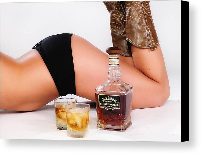 Jack Daniels Canvas Print featuring the photograph Jack Daniels Bottoms Up by John Kiss