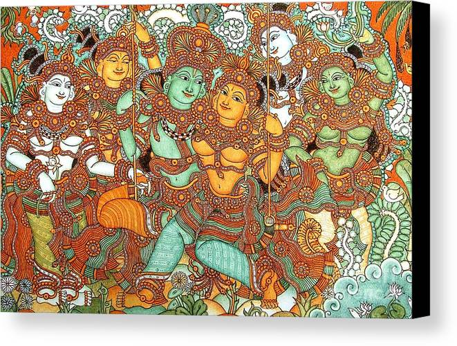 Kerala mural paintings canvas prints and kerala mural for Canvas mural painting